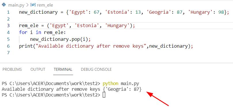 remove multiple keys using pop in python