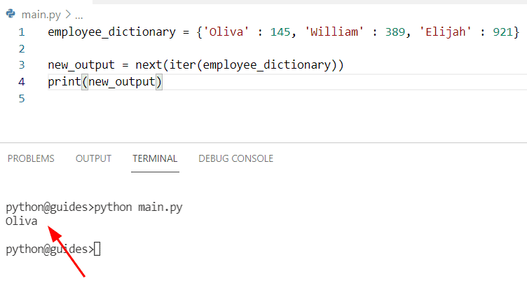 Get First Key in dictonary Python using iter