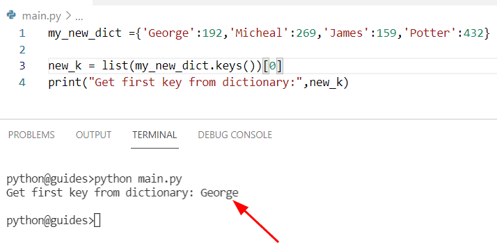 Get first key in dictionary Python