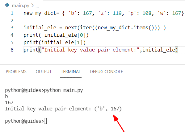 Get first key value pair in dictionary Python