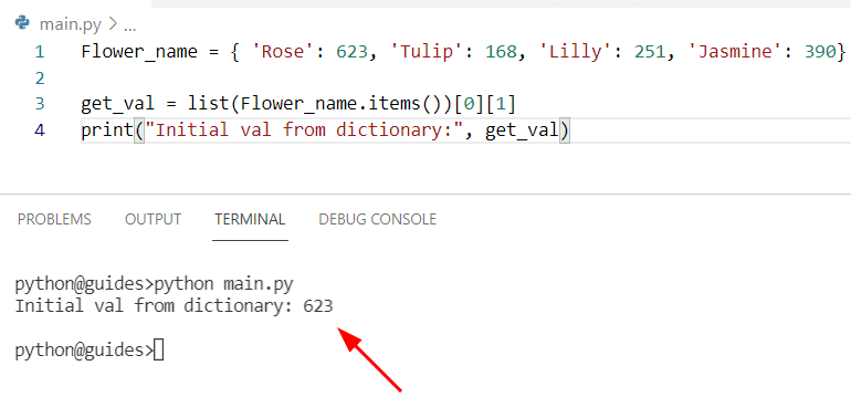 Get value of first key in dict Python by using item