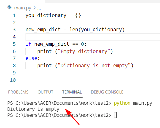 How to check if Python dictionary is empty by using len method