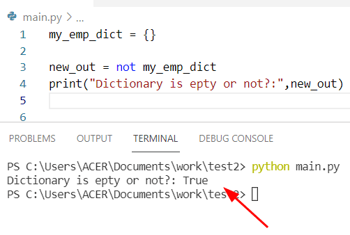 How to check if Python dictionary is empty by using not operator