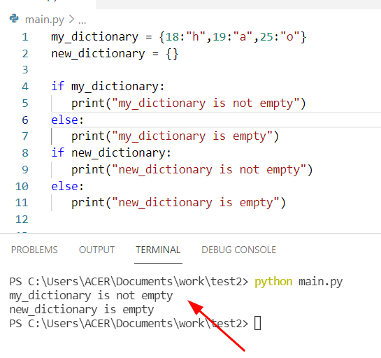 How to check if Python dictionary is empty