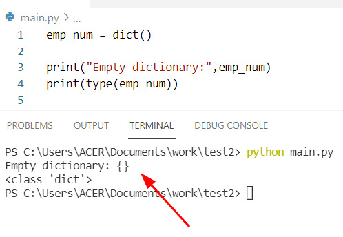 How to create an empty Python dictionary dict method