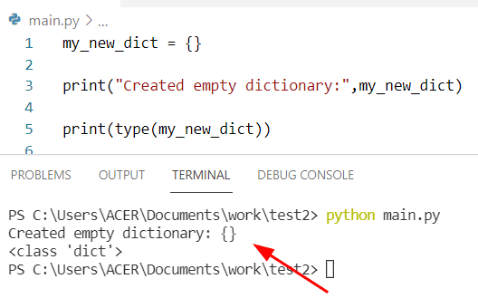 How to create an empty Python dictionary