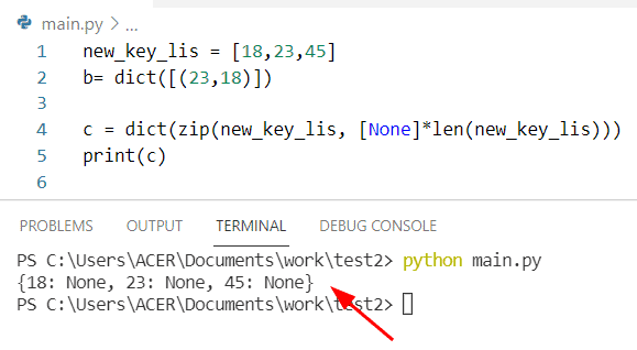 How to create an empty dictionary in Python with Keys