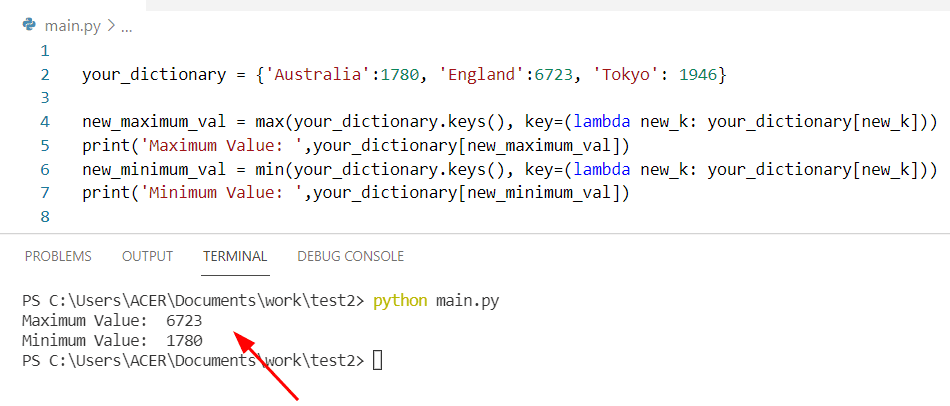 How to find min and max value in dictionary Python