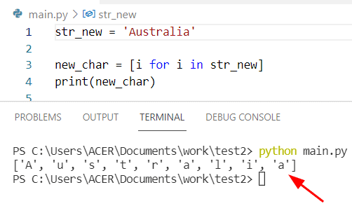 Python string to list of characters
