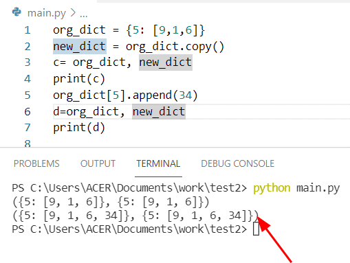 Python Copy dictionary without reference
