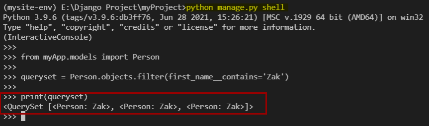 Python Django filter contains