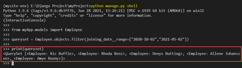 Python Django filter date