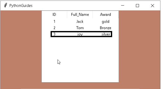 Python Tkinter Table Input