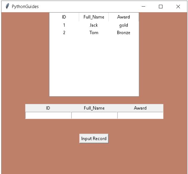 Python Tkinter Table Input Example