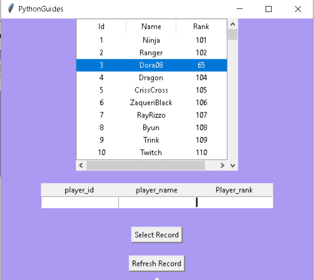 Python Tkinter Table refresh records