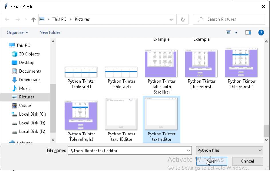 Python Tkinter save file path1