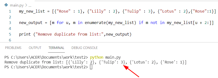 Python dict in list remove duplicate