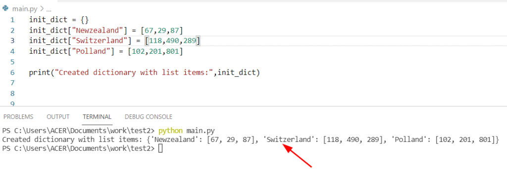 Python dict with list items
