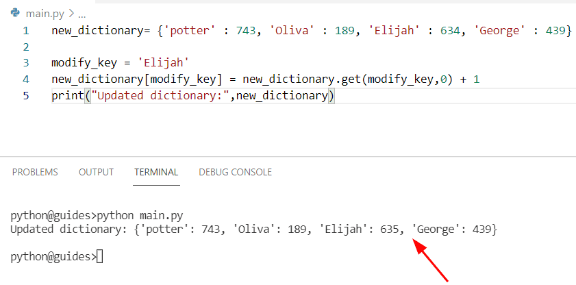Python dictionary increment value by 1