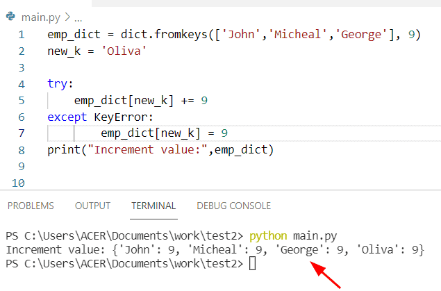 Python dictionary increment value