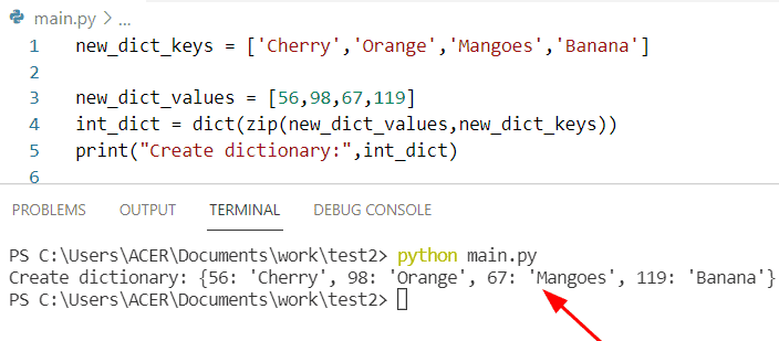Python dictionary list of keys and value