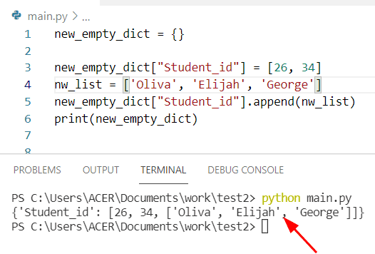 Python dictionary of lists append