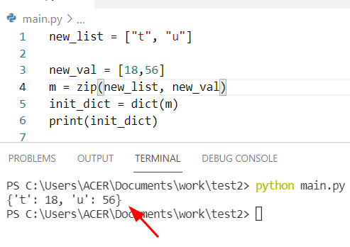 Python dictionary of two lists