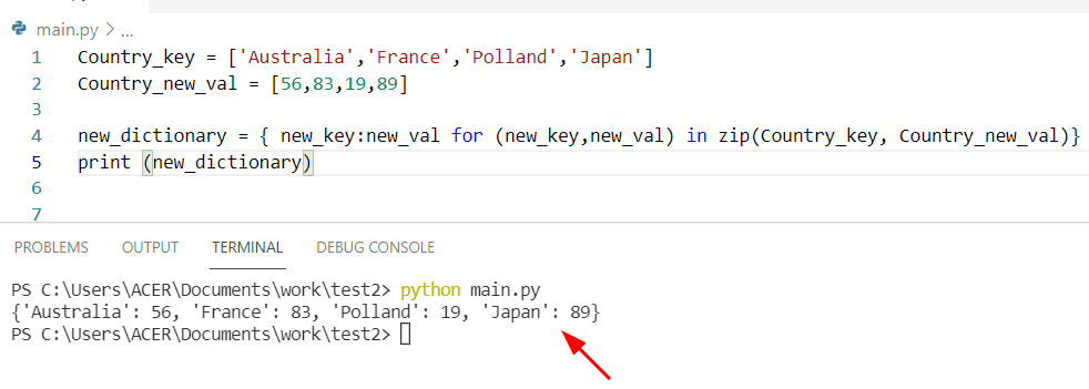 Python dictionary with list comprehension
