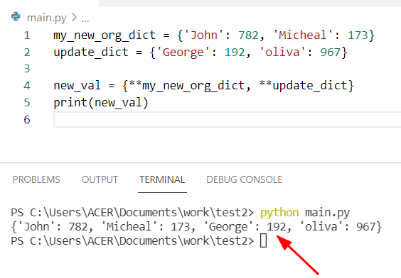 Python extend dictionary with another