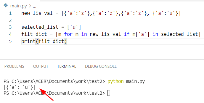 Python filter dictionary list by value