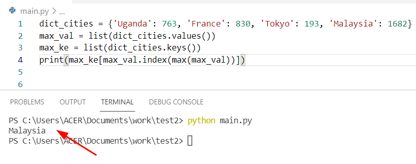 Python find max key value in dictionary