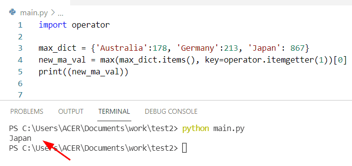 Python find max value in a dictionary by using dict