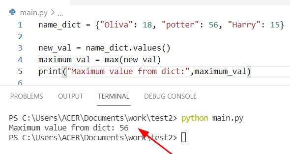 Python find max value in a dictionary by using max and dict