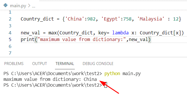 Python find max value in a dictionary by using max with lambda function