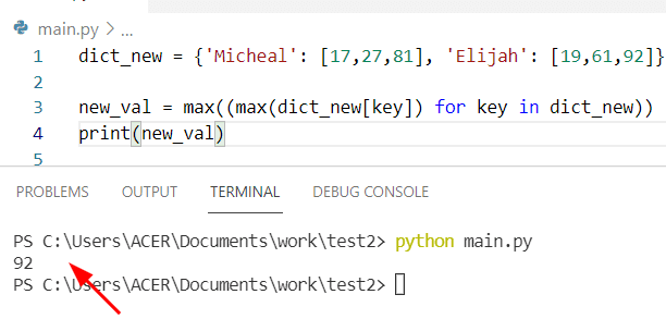 Python find max value in a dictionary of lists