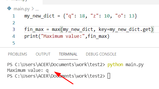 Python find max value in a dictionary
