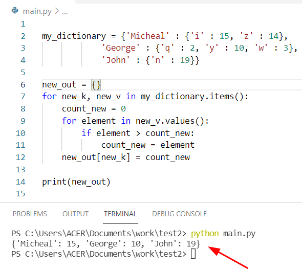 Python find max value in a nested dictionary