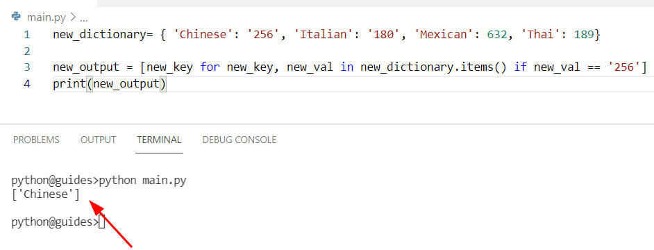Python get key of first item in dictionary