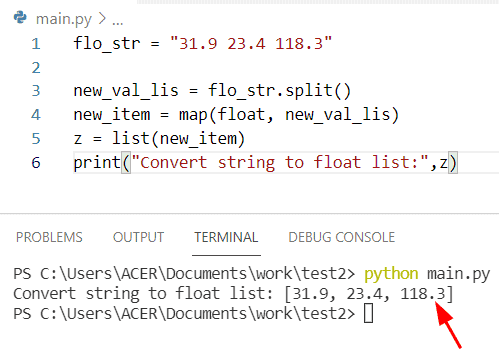 Python string to list of floats