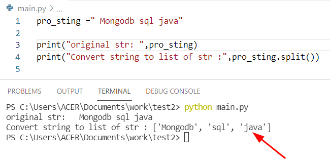 Python string to list of strings