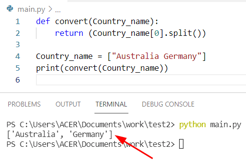 Python string to list of words