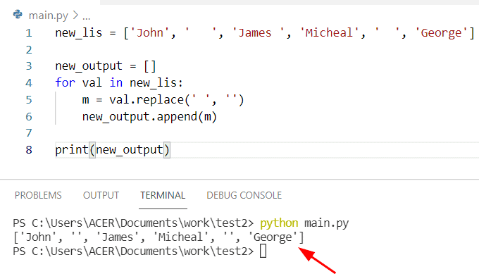 Python string to list remove spaces