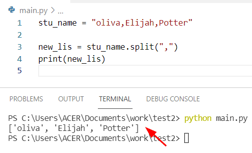 Python string to list with separator