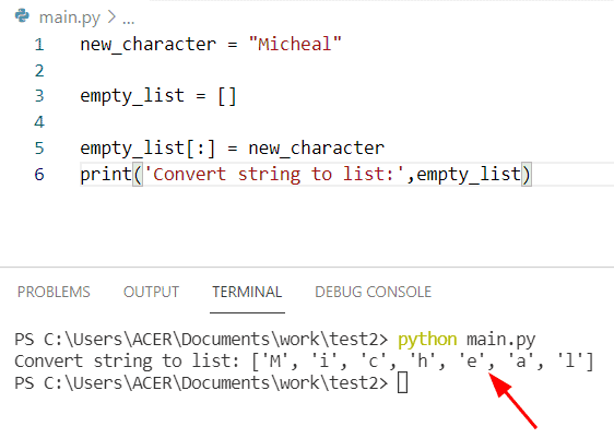 Python string to list without split