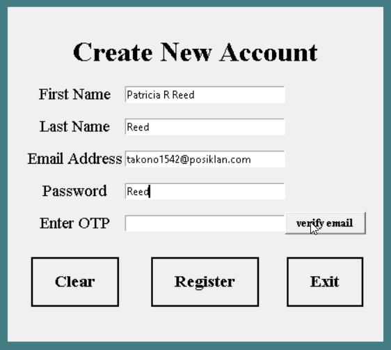 Python tkinter registration multi