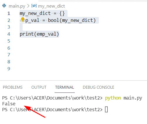 how to check if Python dictionary is empty by using bool method
