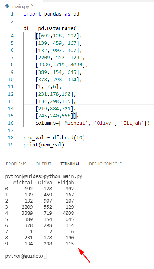 Get the first 10 rows of Pandas DataFrame