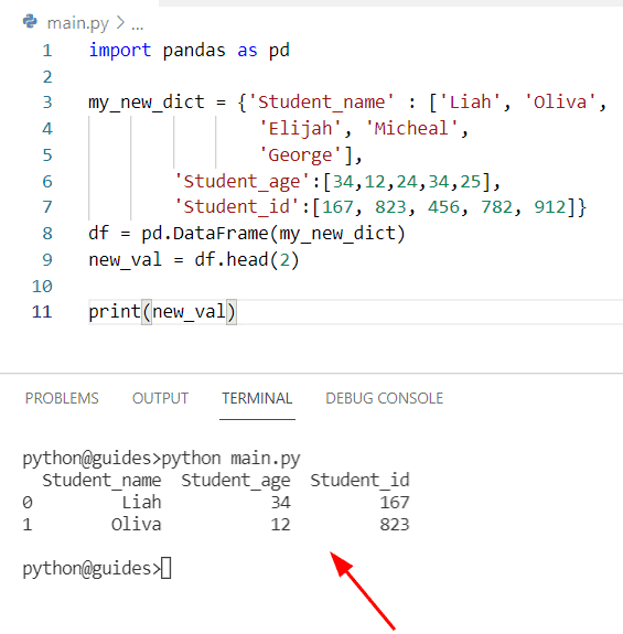 Get the first N row of Pandas DataFrame as dictionary