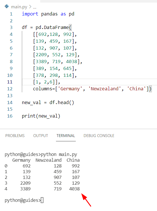 Get the first N rows of Pandas DataFrame