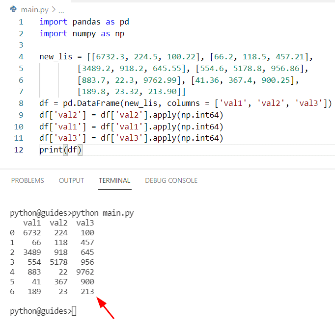 How to convert a column from float to an integer in Pandas